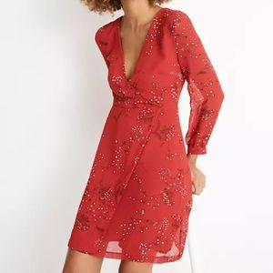 Madewell Hazelwood Wrap-Front Mini Dress in red